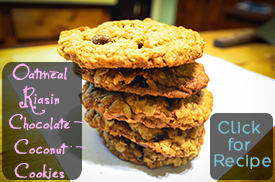 Oatmeal Raisin Chocolate Coconut Cookies