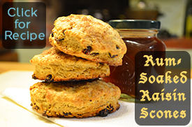 Rum-Soaked Raisin Scones